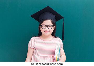cute girl with green chalkboard