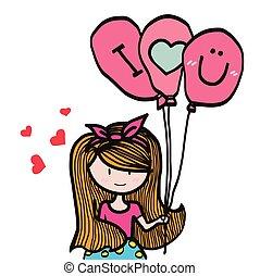 Cute girl with I love you balloon cartoon illustration