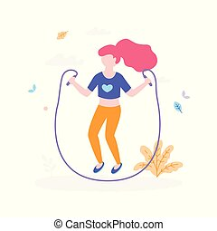 Cute girl with jumping rope outdoors in the park isolated on white background. Children activity concept, summer flat illustration with bush, grass and leaves around
