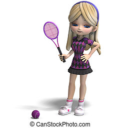 cute girl with long hair plays tennis. 3D rendering with clipping path and shadow over white