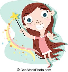 cute girl with magic wand