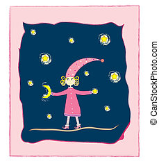 cute girl with moon and stars Postc