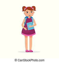 Cute girl with pigtails in dress with a book and backpack isolated on white background. Cheerful student girl in flat design.