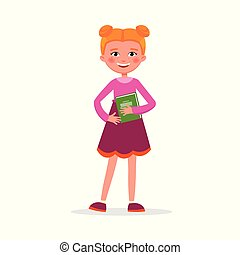 Cute girl with pigtails in dress with a book and backpack isolated on white background. Funny student girl in flat design.