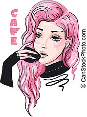 Cute girl with pink hair and cup of coffee or tea fashion vector illustration