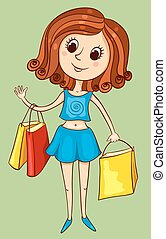 Cute girl with purchases