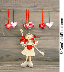 Cute Girl with Red Heart. Valentines Day decoration