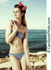 cute girl with sexy swimwear