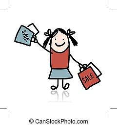Cute girl with shoppibg bags, cartoon for your design