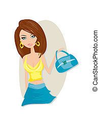 Cute girl with shopping bag