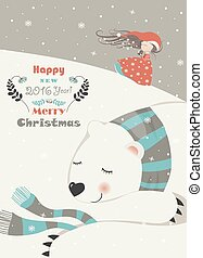 Cute girl with sleeping polar bear