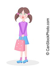 Cute Girl with Sopping Bag Flat Vector Icon