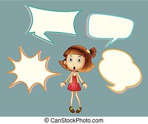 Cute girl with speech balloon