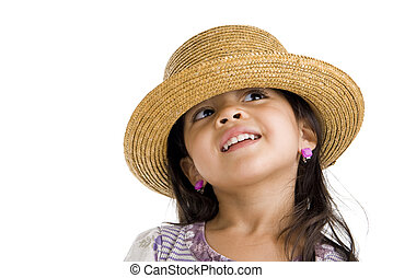 cute girl with straw hat