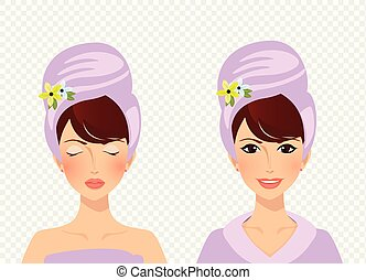 cute girl with towel on head before and after spa treatment