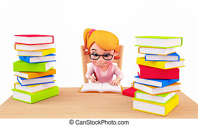 Cute girl writing on the books - 3D illustration of Cute...