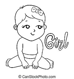 Cute Girl.cartoon hand drawn vector illustration. Can be used for baby t-shirt print, fashion print design, kids wear, baby shower celebration greeting and invitation card.