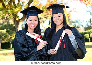 Cute Girls at Graduation - Pretty Asian woman wearing cap ...