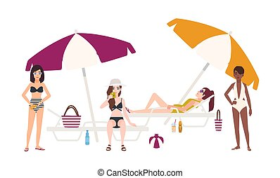 Cute girls dressed in swimsuits lying and sitting on sunloungers with umbrellas or standing beside it, relaxing and sunbathing. Young women in swimwear on beach. Flat cartoon vector illustration.