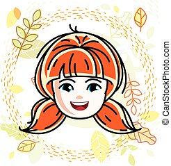 Cute girls face, human head. Vector redhead character, smiling girl face features.