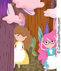 cute girls in the forest foliage cartoon, children character