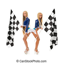 Cute girls posing with checkered flags at camera