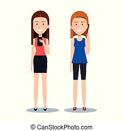 cute girls standing using their smartphones smiling happy