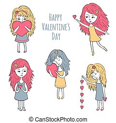 Cute girls with hearts