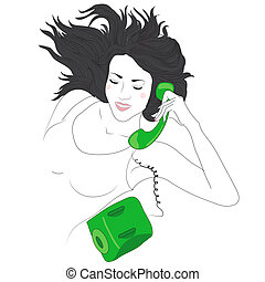 cute, glad kvinde, unge, telefon
