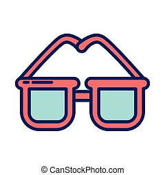cute glasses, line and fill style icon