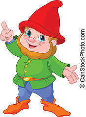 Cute Gnome presenting - Illustration of cute Gnome...