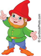 Illustration of cute Gnome presenting