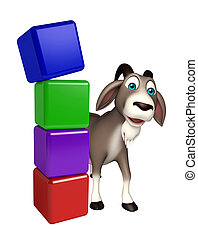 cute Goat cartoon character with level