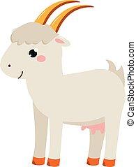 Cute goat. Cartoon farm animal isolated on white