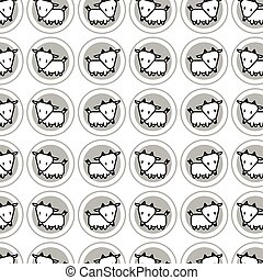Cute goat cartoon icon for chinese zodiac vector pattern