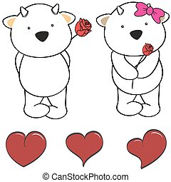 cute goat cartoon love heart set