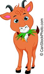cute goat cartoon - vector illustration of