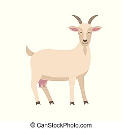 Cute goat vector flat illustration isolated on white background. Farm animal goat cartoon character.