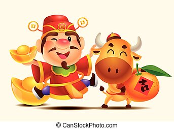 Cute God of Wealth and cute cow holding gold ingot and mandarin orange (Tangerine). Vector characters of Chinese New Year 2021 isolated. Translation: Luck