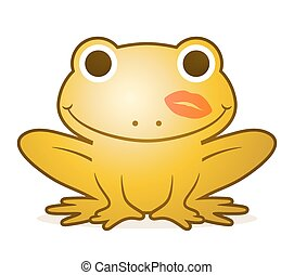 Cute gold cartoon frog with a lipstick kiss