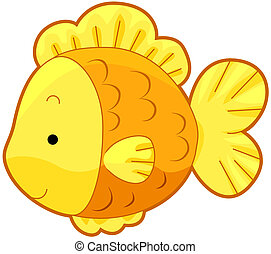Cute Gold Fish with Clipping Path