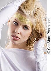 cute golden woman