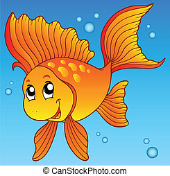 Cute goldfish in water - vector illustration.