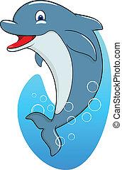 cute, golfinho, feliz