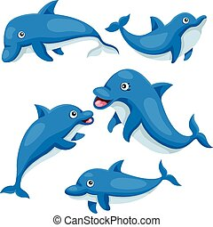 cute, golfinho, illustrator