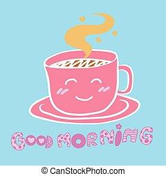 Cute good morning coffee cup cartoon illustration