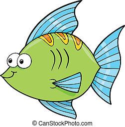 cute, goofy, fish, havet, vektor