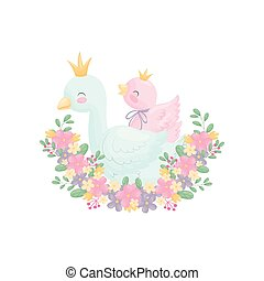 Cute goose and gosling. Vector illustration on white...