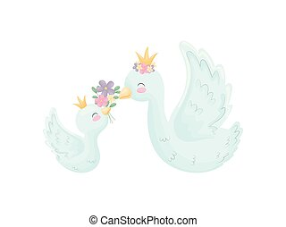 Cute goose and gosling with spread wings. Vector...