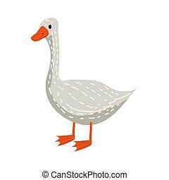 Cute goose, animal, bird, trend, cartoon style, vector,...